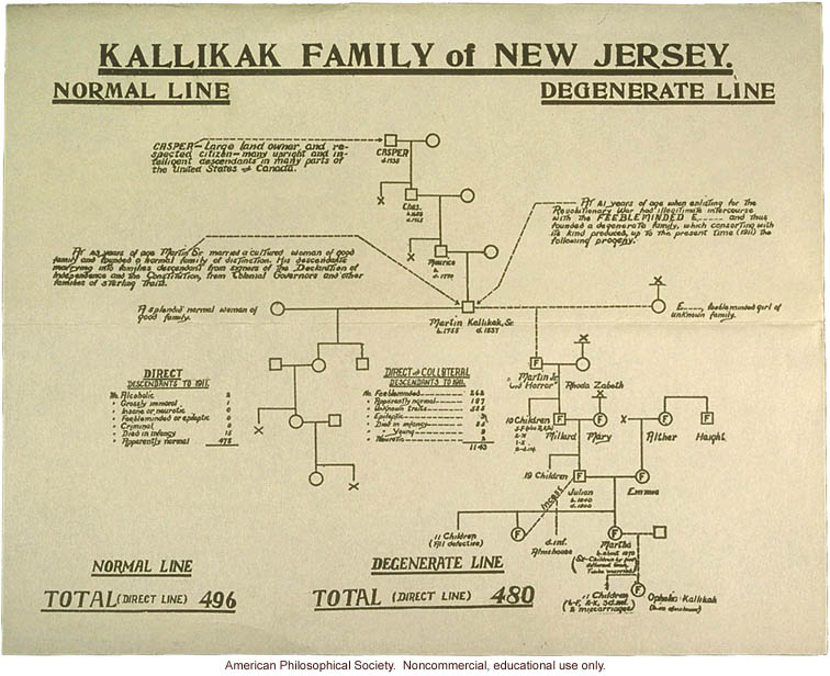 """Research on the """"Kallikak"""" family of New Jersey, claiming to show how degeneracy is passed down from parent to child. This study has been entirely discredited."""
